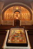 Interior, altar, icons, frescoes, baptismal font, in the old russian traditional orthodox church Stock Photo