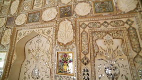 Interior of Amber Fort. Ornate interior of Amber Fort in Jaipur India stock footage