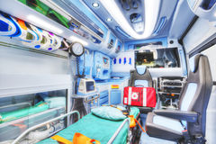 Interior of an ambulance. HDR version. Royalty Free Stock Photos