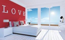 Interior Amor-moderno y mínimo del dormitorio con la terraza del mar para el día del ` s de la tarjeta del día de San Valentín fotografía de archivo
