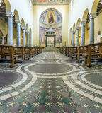 Interior of the ancient basilica church of San Saba in Rome Stock Photography