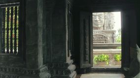 Interior ancient Buddhist temple on Bali island. Religious architecture pagoda stock video footage