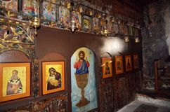 The interior of ancient Christian Orthodox church. stock images