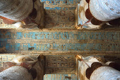 Interior of ancient egypt temple in Dendera Royalty Free Stock Images