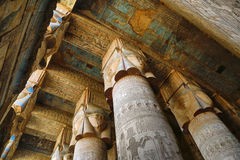 Interior of ancient egypt temple in Dendera Stock Images