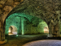 Interior of the ancient fortress. Illuminated interior of the ancient fortress Munot in Switzerland (hdr version Stock Photos