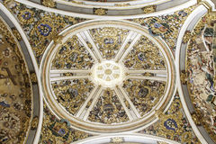 Interior of ancient gothic cathedral Stock Images