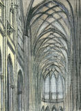 Interior of ancient gothic temple Royalty Free Stock Image