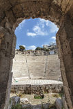 Interior of the ancient Greek theater Odeon of Herodes Atticus in Athens, Greece Royalty Free Stock Photo