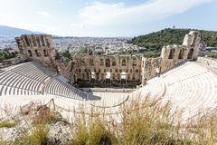 Interior of the ancient Greek theater Odeon of Herodes Atticus in Athens, Greece Royalty Free Stock Images