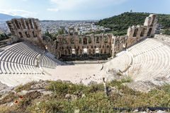Interior of the ancient Greek theater Odeon of Herodes Atticus in Athens, Greece. Europe Royalty Free Stock Photo