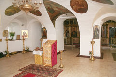 Interior of ancient orthodox church Stock Images