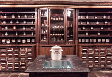 Interior the ancient pharmacy. Furniture with drugs Royalty Free Stock Image