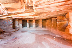 Interior of ancient tomb cavern in Petra Royalty Free Stock Image