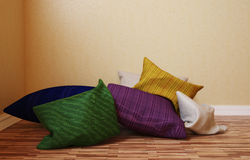 The interior angle which distribute a few colorful pillows. 3d illustration of an interior angle which distribute a few colorful pillows Royalty Free Stock Images