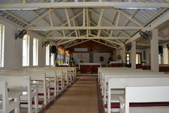 Interior of Anglican Church in Port Mathurin, Rodrigues, Mauritius. St Barnabas Church Community Royalty Free Stock Photos