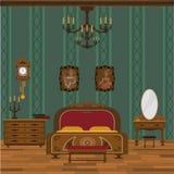 Interior antigo do quarto com revestimento de madeira ilustração royalty free