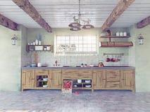 Interior antiguo de la cocina Imagen de archivo libre de regalías