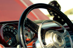 Steering wheel of an antique car Stock Photo