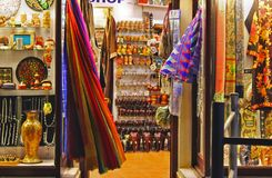 Interior of Antique Gift Shop in Kovalam Beach. Ladies Gift Shop in Kovalam Beach. Foot path antique and fashion stores in Kovalam Vizhinjam Beach Trivandrum stock photography