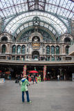 Interior of Antwerp main railway station Stock Images