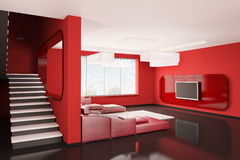 Interior of apartment 3d. Interior of apartment with stairs 3d render Stock Photos