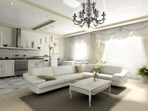 Interior of the apartment in classic style Royalty Free Stock Image