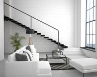 Interior of the apartment in loft style in light colors Royalty Free Stock Photo
