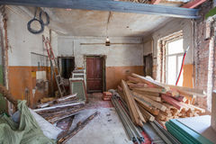 Interior of apartment with materials during on the renovation and construction. Remodel wall from gypsum plasterboard or drywall Stock Photography
