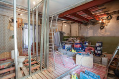 Interior of apartment with materials during on the renovation and construction Stock Photography