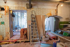 Interior of apartment with materials during on the renovation and construction. Remodel wall from gypsum plasterboard or drywall Royalty Free Stock Photography