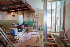 Interior of apartment with materials during on the renovation and construction Royalty Free Stock Images