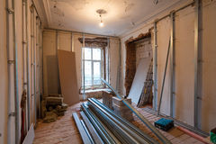 Interior of apartment with materials during on the renovation  making wall from gypsum plasterboard Stock Photo