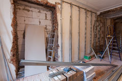 Interior of apartment with materials during on the renovation  making wall from gypsum plasterboard Royalty Free Stock Photos