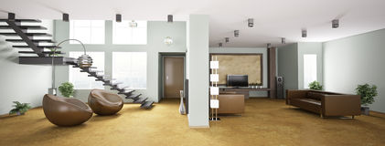 Interior of apartment panorama 3d Stock Image