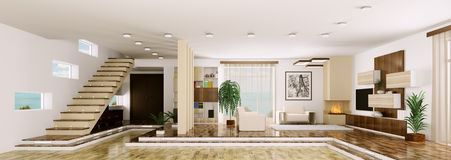 Interior of apartment panorama 3d render Stock Image