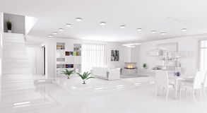 Interior of apartment panorama 3d render Royalty Free Stock Photos