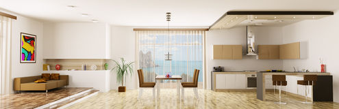 Interior of apartment panorama Stock Images