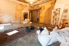 Interior of apartment during on the renovation  making a concrete floor Royalty Free Stock Images