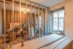 Interior of apartment during on the renovation  making wall from gypsum plasterboard Royalty Free Stock Image