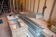 Interior of apartment during on the renovation making wall from gypsum plasterboard Stock Photography