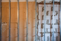 Interior of apartment during on the renovation  making wall from gypsum plasterboard Stock Photo