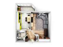 Interior apartment roofless top view apartment layout 3d render vector illustration