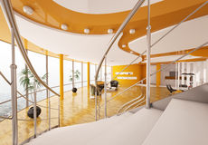 Interior of apartment view from staircase 3d Stock Photography