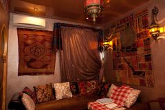 Interior of arabian restaurant Tashkent Royalty Free Stock Images