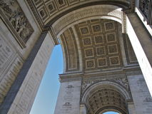 Interior Arc de Triomphe in Paris. This is what you see if you walk underneath the Arc the Triomphe in Paris: wonderfully sculpted arches Stock Photos