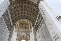 Interior of Arch of Triumph. Apr., 16 2015 The interior of Arch of Triumph in Paris - The Arc is one of the most famous monuments in Paris. It stands in the Royalty Free Stock Photography
