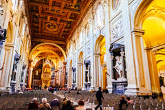 Interior of Archbasilica of St. John Lateran in Rome Stock Images