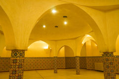 Interior arches and mosaic tile work of hammam turkish bath in H royalty free stock photography