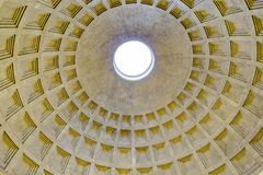 Pantheon Interior View, Rome, Italy. Interior architectural detail view of coffered ceiling roman pantheon, Rome city, Italy royalty free stock photography